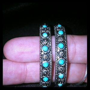 Jewelry - 💎NEW💎❤*Silver & Turquoise Boho Hoops!*❤